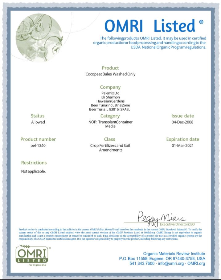 Omri Certificate for coir 1
