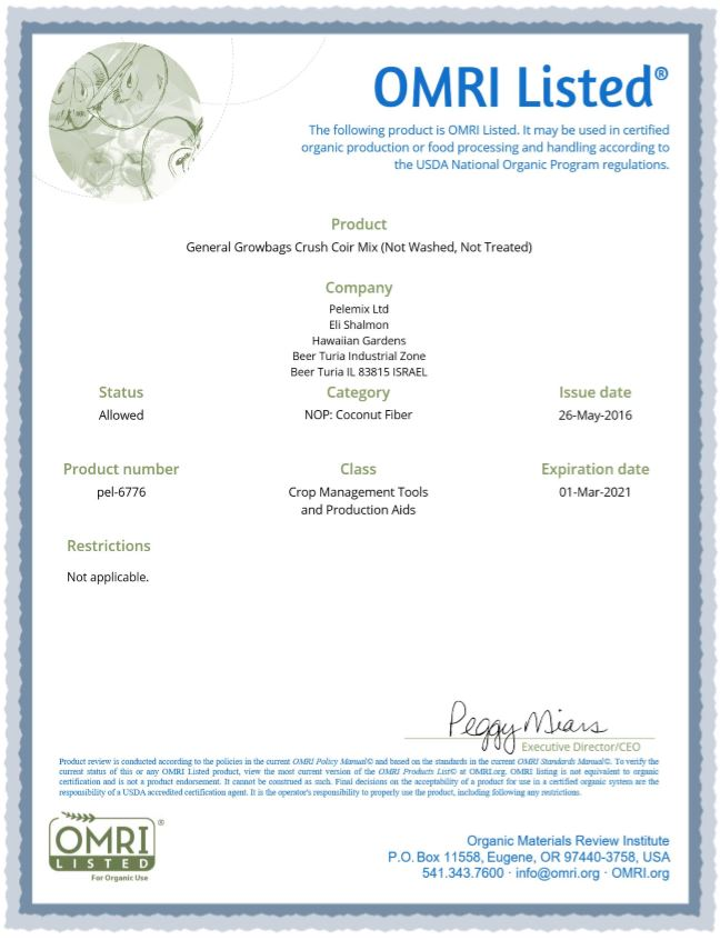Omri Certificate for coir 3