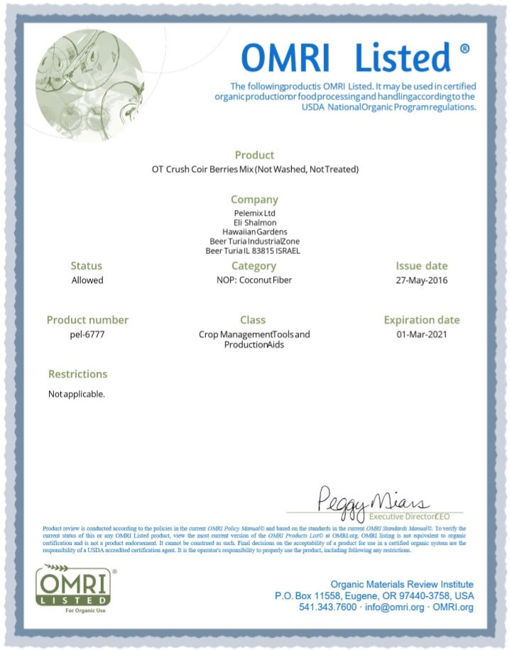 Omri Certificate for coir 4